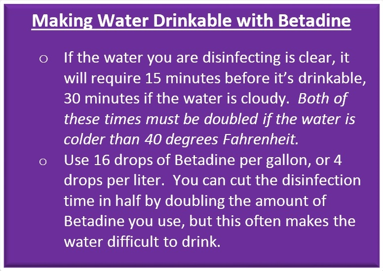 Making Water Drinkable with Betadine